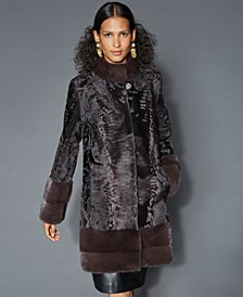 Mink-Fur-Trim Persian Lamb Coat