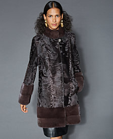 The Fur Vault Mink-Fur-Trim Persian Lamb Coat