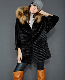 The Fur Vault Sheared Beaver Mink & Fox Fur Coat