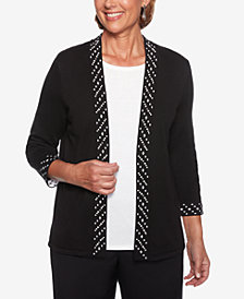 Alfred Dunner Finishing Touches Embellished Layered-Look Sweater