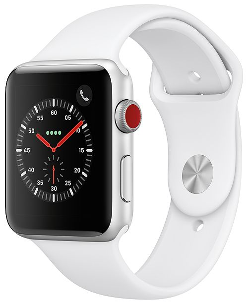 Apple Watch Series 3 AppleWatch Series3 GPS+Cellular, 42mm Silver Aluminum Case with White Sport Band