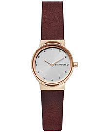 Skagen Women's Freja Red Leather Strap Watch 26mm