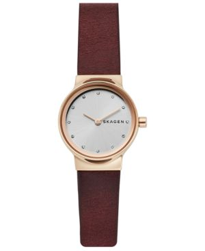 Freja Crystal Accent Leather Strap Watch, 26Mm, Brown