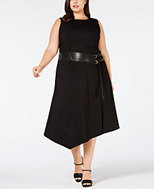 Calvin Klein Plus Size Lux Stretch Dress With Belted Trim
