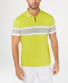 Alfani Men's Regular-Fit Stripe Quarter-Zip Polo, Created for Macy's