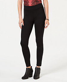Style & Co Faux-Suede-Trimmed Leggings, Created for Macy's