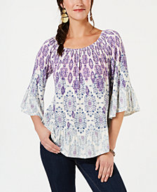 Style & Co Printed Bell-Sleeve Top, Created for Macy's