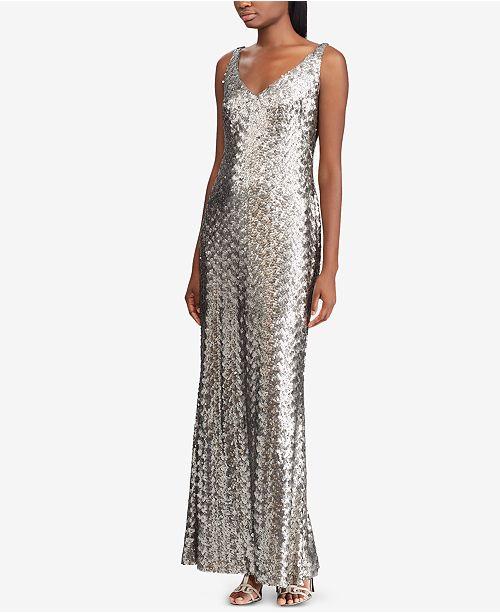 a4afc0cb371 Lauren Ralph Lauren Sequin Evening Gown   Reviews - Dresses - Women ...