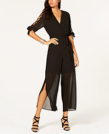 Monteau Petite Lattice-Trim Split-Leg Jumpsuit
