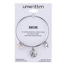 Unwritten Mom Charm and Rose Quartz (8mm) Bangle Bracelet in Stainless Steel