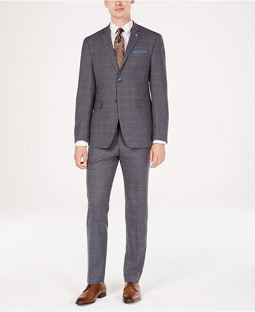 Original Penguin Men's Slim-Fit Stretch Gray/Brown Windowpane Suit