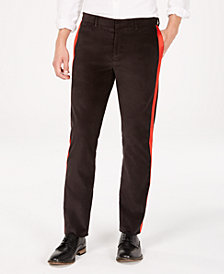 Calvin Klein Mens Velvet Stripe Slim-Fit Pants