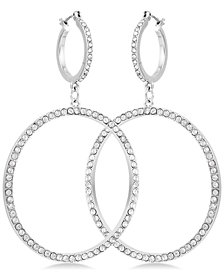GUESS Silver-Tone Pavé Drop Hoop Earrings