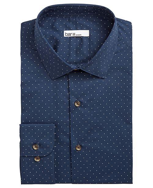Bar III Men's Slim-Fit Stretch Polka Dot Dress Shirt, Created for Macy's