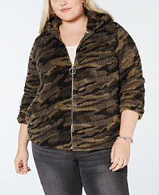 Planet Gold Plus Size Camo Fleece Hoodie