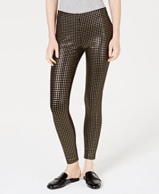 Maison Jules Metallic-Print Pull-On Pants, Created for Macy's