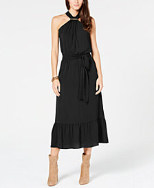 MICHAEL Michael Kors Logo-Bar Blouson Halter Dress