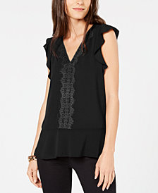 MICHAEL Michael Kors V-Neck Lace-Trim Top in Regular & Petite Sizes