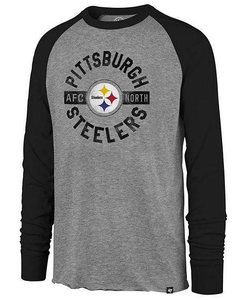 ecb87e6e2b2 ... '47 Brand Men's Pittsburgh Steelers Retro Encircled Long Sleeve Club  Raglan T-Shirt; ' ...