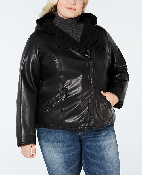 e71c7f727ee Levi s Plus Size Faux Sherpa-Lined Hooded Moto Jacket - Jackets ...