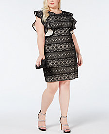 Love Squared Plus Size Ruffle-Sleeve Lace Dress