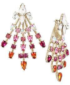 Betsey Johnson Gold-Tone Crystal Spray Front/Back Earrings