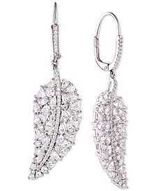 Tiara Cubic Zirconia Leave Drop Earrings in Sterling Silver