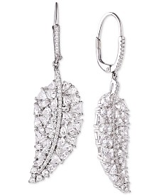 Tiara Cubic Zirconia Leave Drop Earrings in Sterling Silver