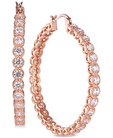 Tiara Cubic Zirconia Bezel Hoop Earrings in 14k Rose Gold-Plated Sterling Silver