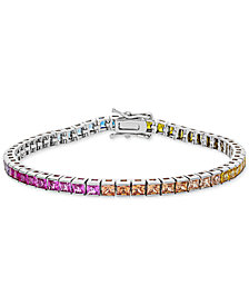Giani Bernini Cubic Zirconia Rainbow Link Bracelet in Sterling Silver, Created for Macy's