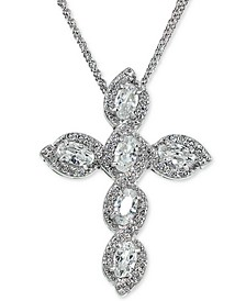 """Cubic Zirconia Cross 18"""" Pendant Necklace in Sterling Silver, Created for Macy's"""