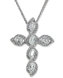 "Giani Bernini Cubic Zirconia Cross 18"" Pendant Necklace in Sterling Silver, Created for Macy's"