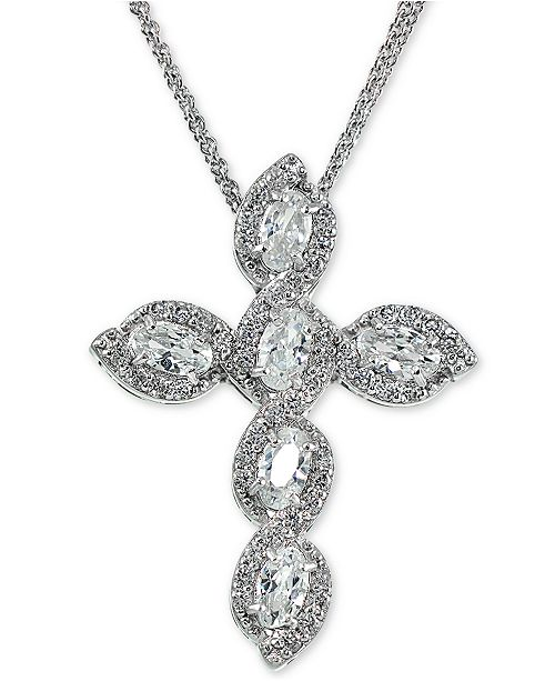 """Giani Bernini Cubic Zirconia Cross 18"""" Pendant Necklace in Sterling Silver, Created for Macy's"""