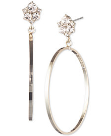 Givenchy Crystal Cluster Drop Hoop Earrings