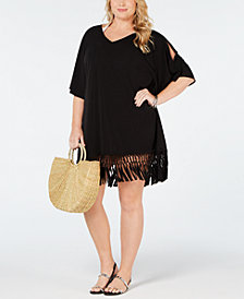 Dotti Plus Size Sahara Summer Fringe-Trim Cover-Up