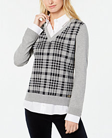 Tommy Hilfiger Plaid Layered-Look Sweater, Created for Macy's