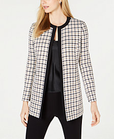 Kasper Jewel-Neck Plaid Topper Jacket