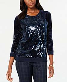 Tommy Hilfiger Velvet Sequined Sweater, Created for Macy's