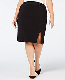 Nine West Plus Size Belted-Detail Pencil Skirt