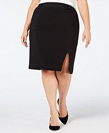 Nine West Plus Size Belted-Detail Pencil Skirt