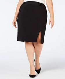 b0d09ffeb0c72 Nine West Plus Size Belted-Detail Pencil Skirt