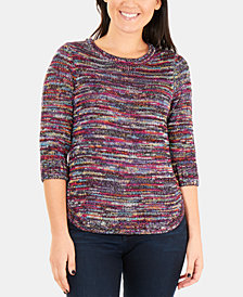 NY Collection Petite Marled Multicolored Sweater