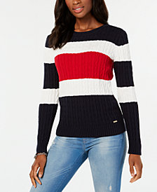 Tommy Hilfiger Cotton Colorblocked Sweater, Created for Macy's
