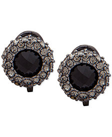 Lauren Ralph Lauren Hematite-Tone Jet Pavé Button Clip-On Earrings