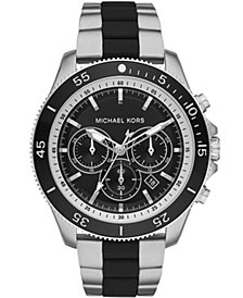 Michael Kors Men's Chronograph Theroux Stainless Steel & Black Silicone Bracelet Watch 44.5mm