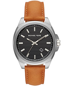 Michael Kors Men's Bryson Brown Leather Strap Watch 42mm