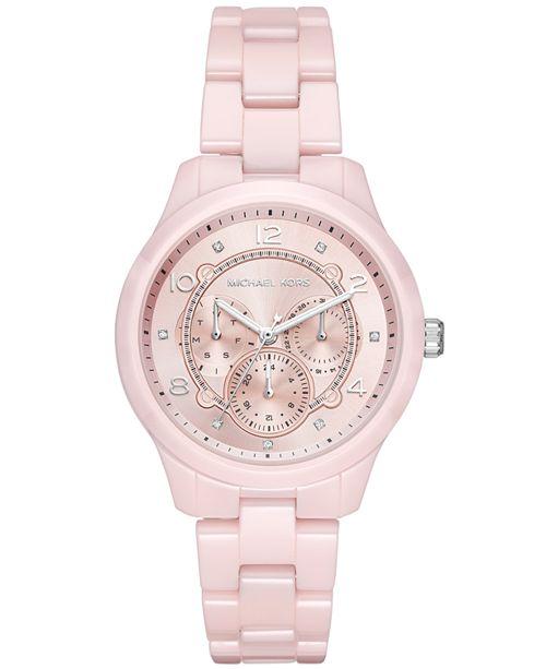 Michael Kors Women's Runway Pink Ceramic Bracelet Watch 38mm