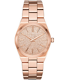 Michael Kors Women's Channing Rose Gold-Tone Stainless Steel Bracelet Watch 36mm