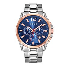 Men's Two-Tone Stainless Steel Chronograph Bracelet Watch with Blue Dial