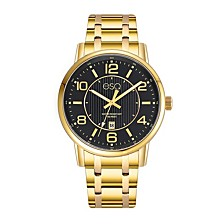 Men's Gold-Tone IP Stainless Steel Bracelet Watch with Black Dial